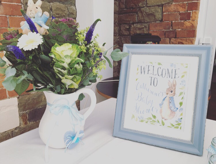 Peter Rabbit baby shower - welcome poster
