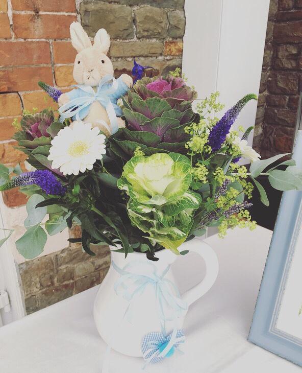 Peter Rabbit baby shower - floral display