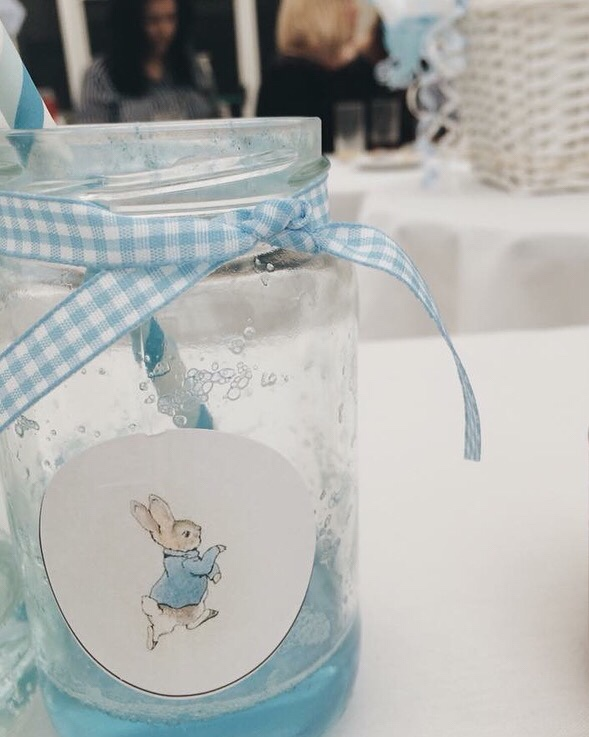 Peter Rabbit baby shower - welcome drinks