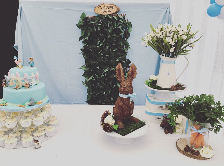 Peter Rabbit baby shower - dessert table