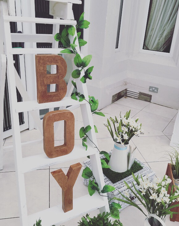 Peter Rabbit baby shower - themed vintage ladder