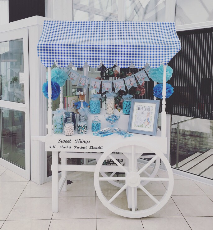 Peter Rabbit baby shower - sweet cart