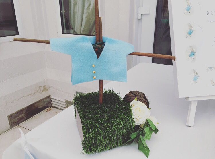 Peter Rabbit baby shower - diy jacket scarecrow