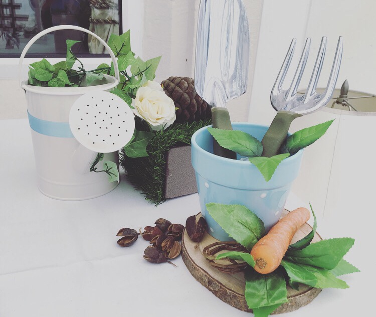 Peter Rabbit baby shower - plant pot and watering can