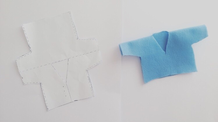 Step 3 - Cut out blue felt Peter Rabbit coat template and fold over