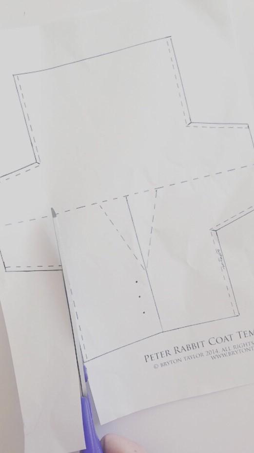 Step 1 - Cut out paper Peter Rabbit coat template