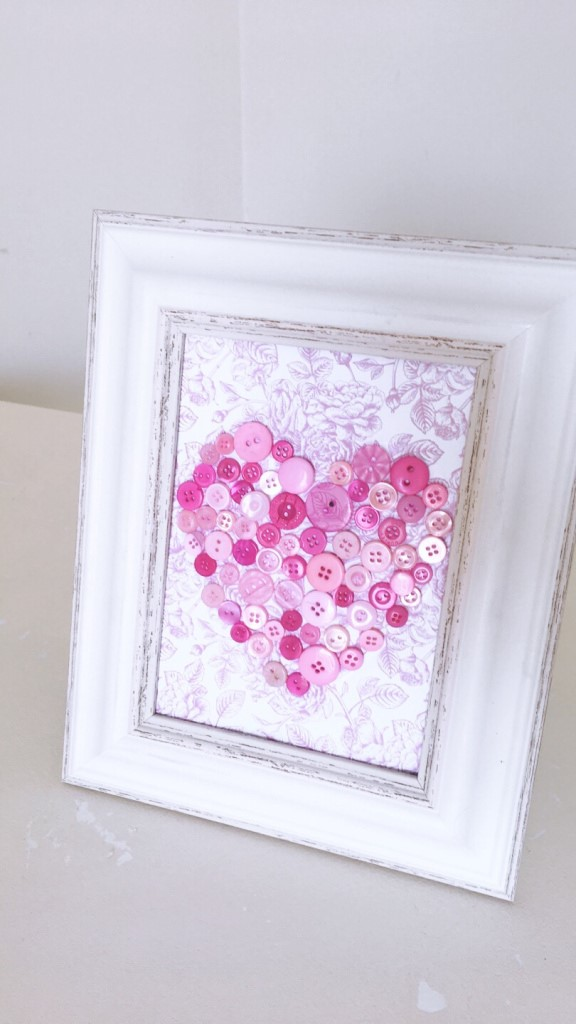 3D Pink Heart Prints Made From Buttons