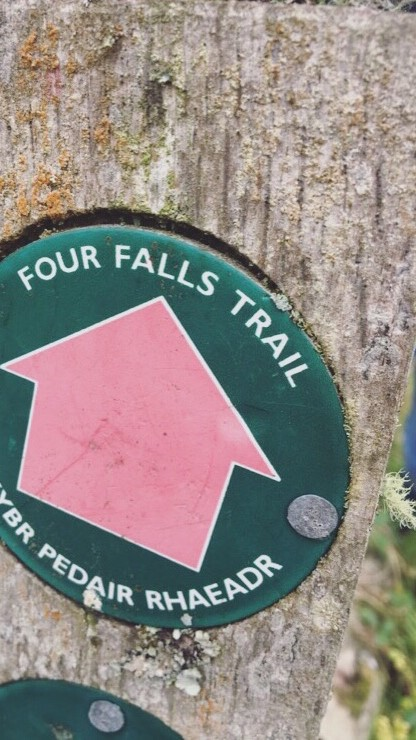 Four Falls Walk Sign, Brecon