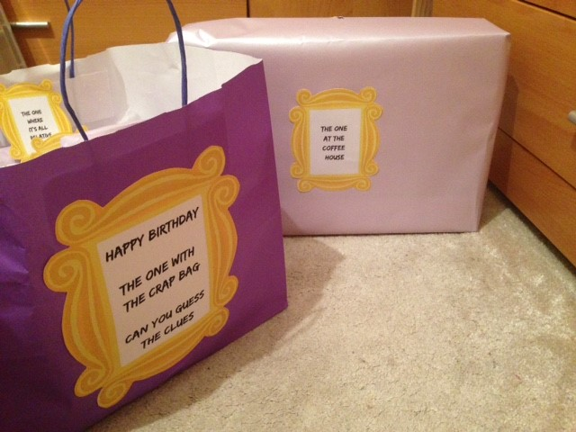 Wrapped up gifts in Friends theme